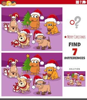 Diferenças tarefa educacional para crianças com cães na época do natal