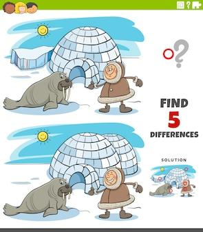 Diferenças tarefa educacional para crianças com esquimó e iglu e morsa