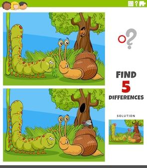 Diferenças tarefa educacional para crianças com lagarta caracol e mosca
