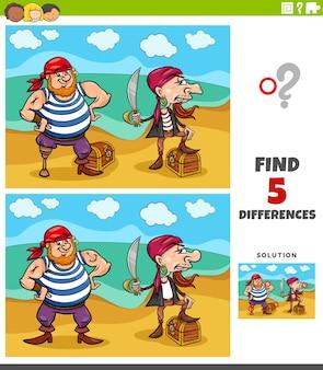 Diferenças tarefa educacional para crianças com piratas e tesouros