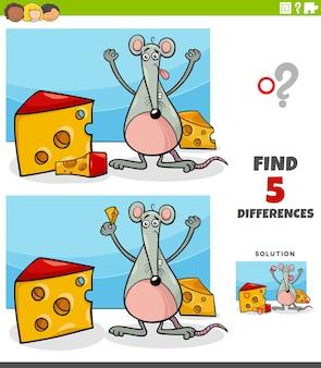 Diferenças tarefa educacional para crianças com rato e queijo