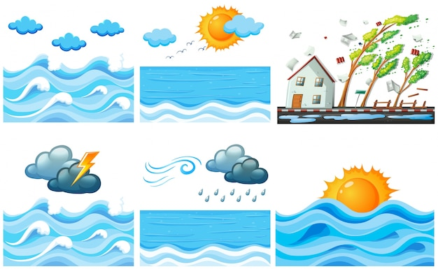 Diferente, cena, clima, mudanças, ilustração