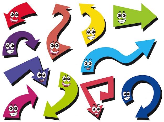 Diferente design da flecha com expressões faciais