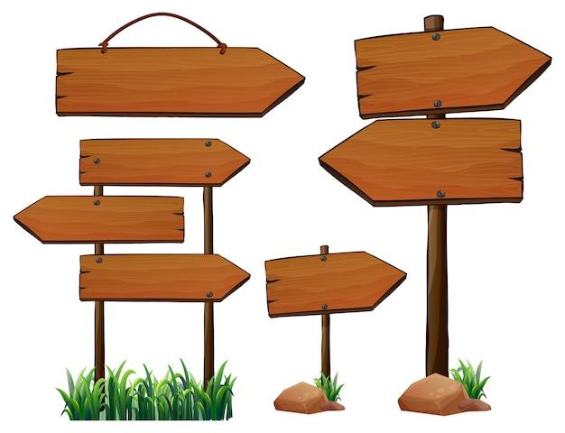 Diferente design de sinais de madeira