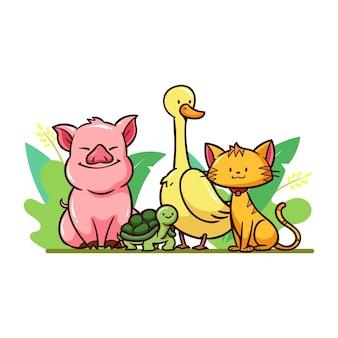 Diferentes animais fofos ao ar livre