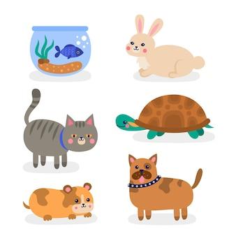 Diferentes animais fofos isolados no papel de parede branco