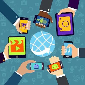 Diferentes aplicações móveis