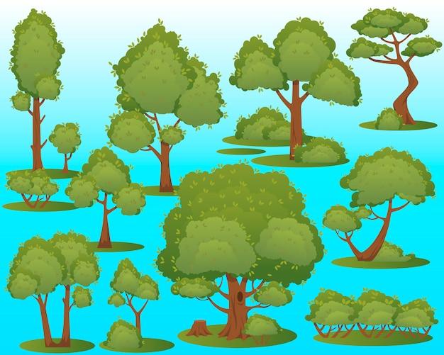Diferentes árvores verdes sobre fundo azul. árvores simples diferentes