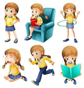 Diferentes atividades de uma jovem
