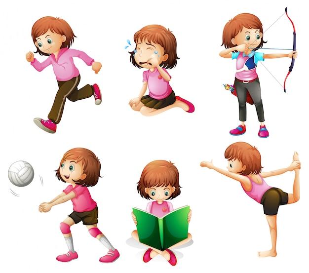 Diferentes atividades de uma pequena senhora