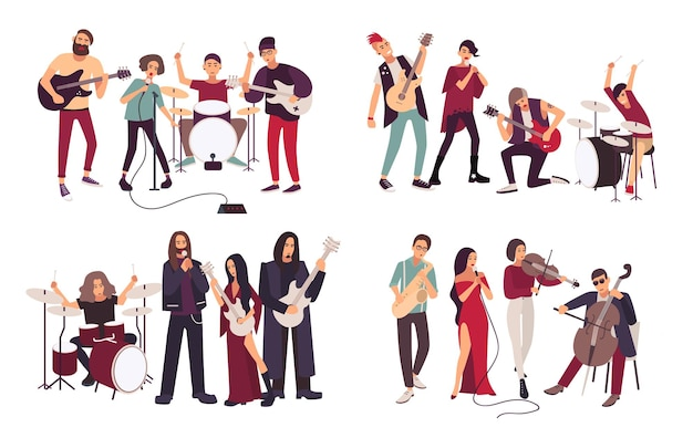Diferentes bandas musicais. indie, metal, punk rock, jazz, cabaré. jovens artistas, músicos cantando e tocando instrumentos musicais. conjunto de ilustração plana colorida.