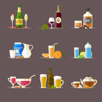 Diferentes bebidas com garrafas, copos e lanches.