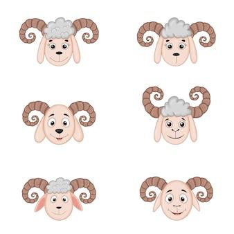 Diferentes cabeças de ovelhas com chifres. animais dos desenhos animados