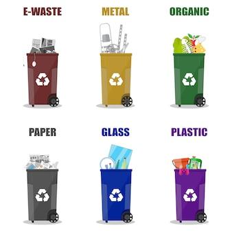 Diferentes categorias de reciclagem de resíduos. lata de lixo