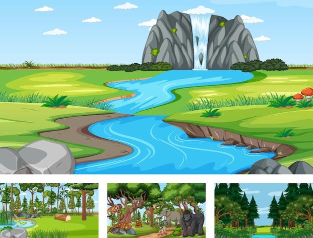 Diferentes cenas da natureza de floresta e floresta tropical com animais selvagens
