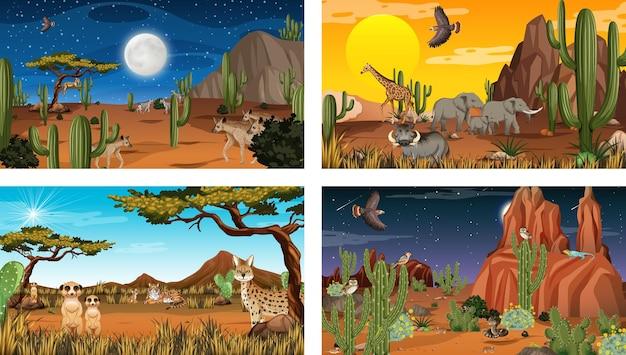 Diferentes cenas da paisagem da floresta do deserto com animais e plantas