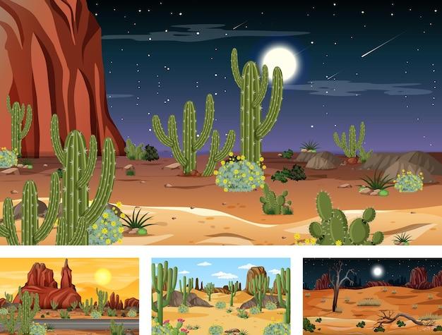 Diferentes cenas da paisagem da floresta do deserto com várias plantas do deserto