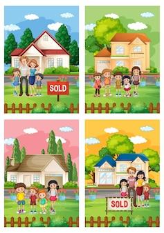 Diferentes cenas de família em frente a uma casa à venda ilustrações