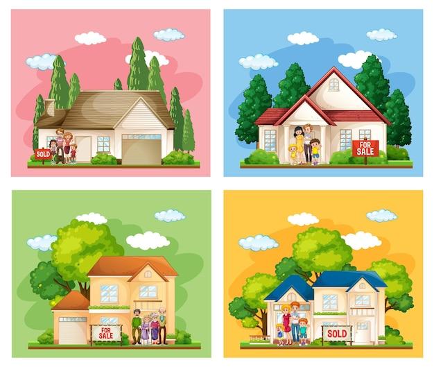 Diferentes cenas de família em frente a uma casa à venda