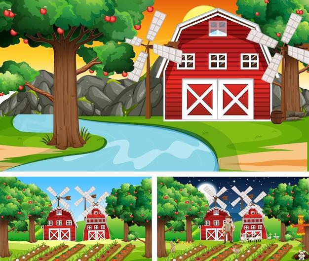 Diferentes cenas de fazenda com o personagem de desenho animado de animais de fazenda