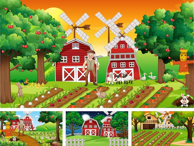 Diferentes cenas de fazenda com personagens de desenhos animados de animais de fazenda