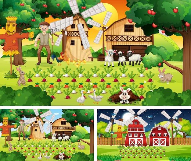 Diferentes cenas de fazenda com um velho fazendeiro e animais