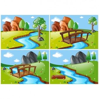 Diferentes cenas de paisagem com um rio