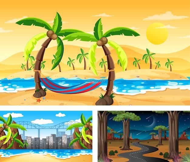 Diferentes cenas de paisagens naturais