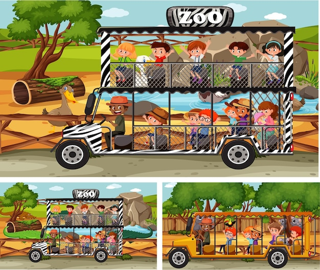 Diferentes cenas de safári com animais e personagens de desenhos animados infantis