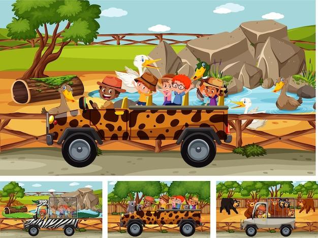 Diferentes cenas de safári com animais e personagens infantis de desenhos animados