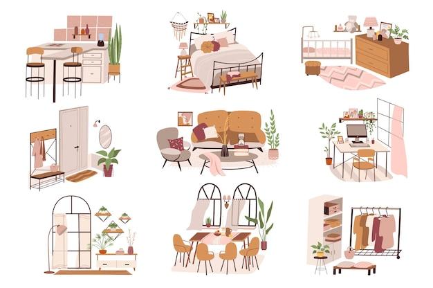 Diferentes cômodos em casa com cenas isoladas