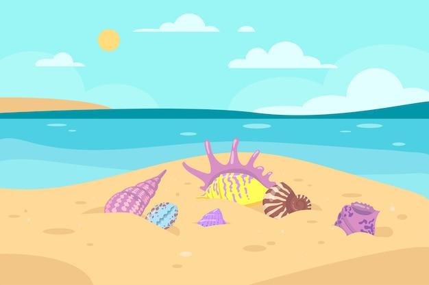 Diferentes conchas coloridas em ilustração à beira-mar