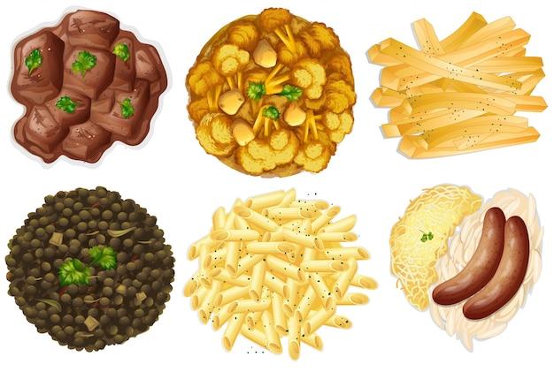 Diferentes conjuntos de alimentos