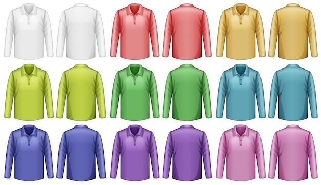 Diferentes cores de camisa de manga comprida