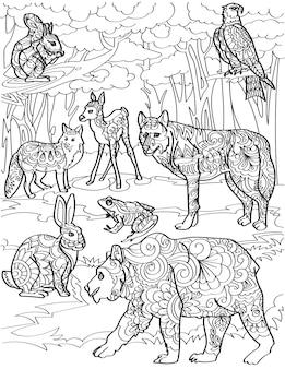 Diferentes criaturas da floresta, veado, raposa, lobo, urso, coelho, com, árvore, fundo, linha, desenho, múltiplo