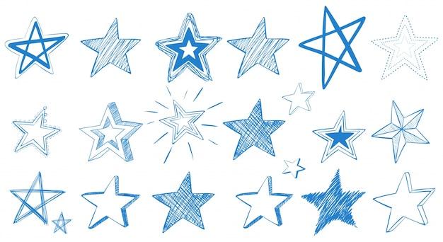 Diferentes desenhos de estrelas azuis