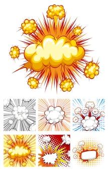 Diferentes desenhos de nuvens de explosão