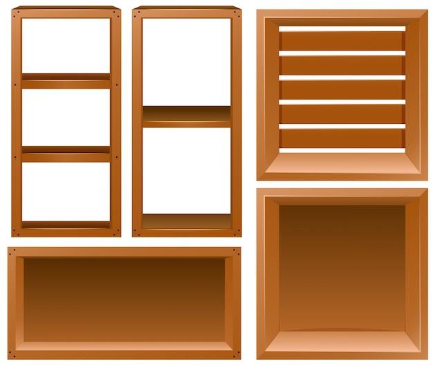 Diferentes desenhos de prateleiras de madeira