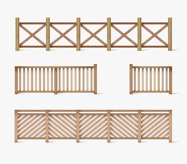 Diferentes designs de cercas de madeira e tijolo sem costura