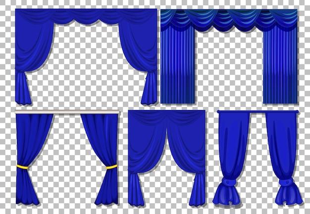 Diferentes designs de cortinas azuis isoladas