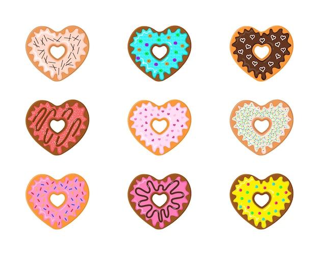 Diferentes donuts em forma de coração rosquinhas doces com várias coberturas e coberturas