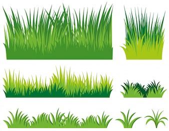 Diferentes doodles de grama