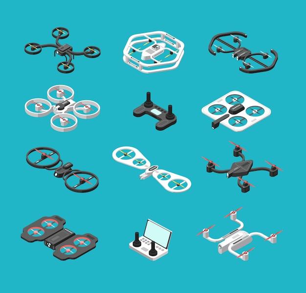 Diferentes drones 3d isométricos.