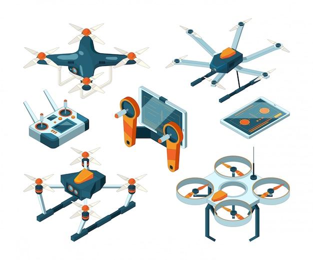 Diferentes drones isométricos e quadcopters