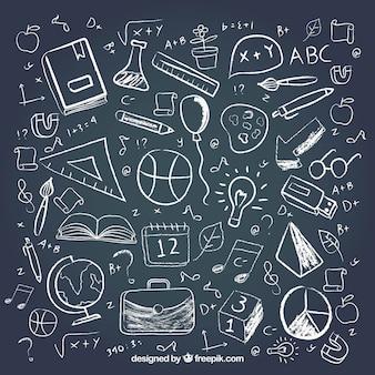 Diferentes elementos da escola no estilo do quadro-negro