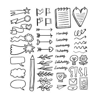 Diferentes elementos de marcador de diário