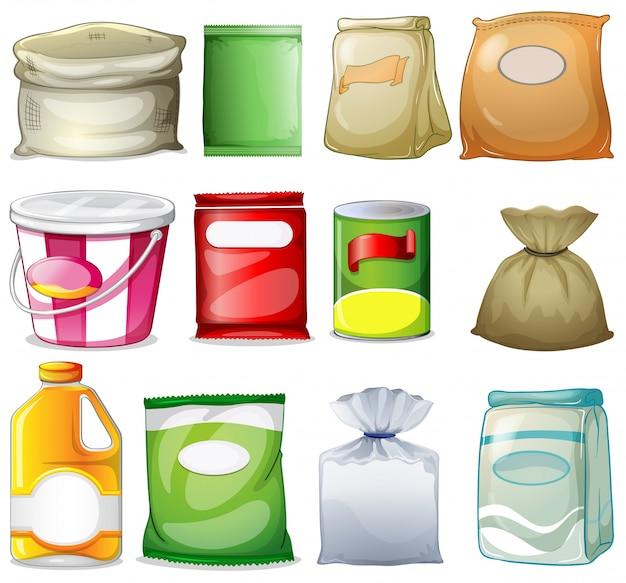 Diferentes embalagens e recipientes