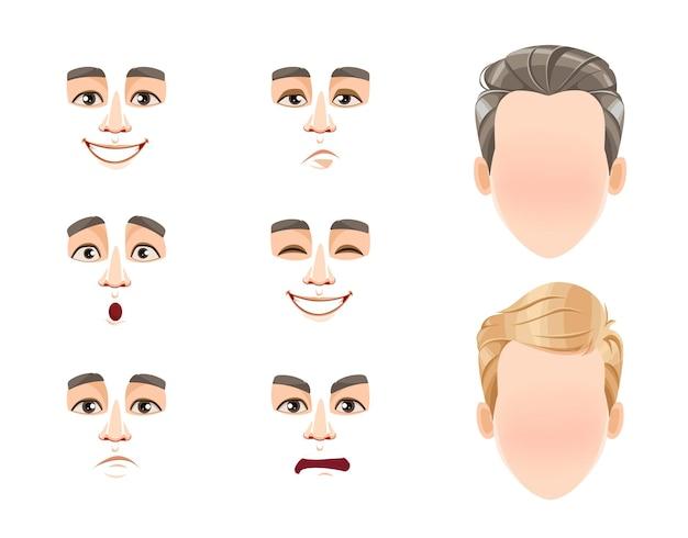 Diferentes emoções masculinas definem expressões