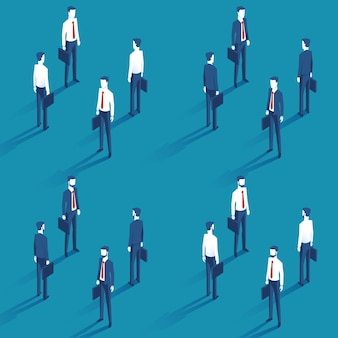 Diferentes empresários com um caso na mão direita em um terno e camisa com uma gravata vermelha em isométrica. empresário barbudo