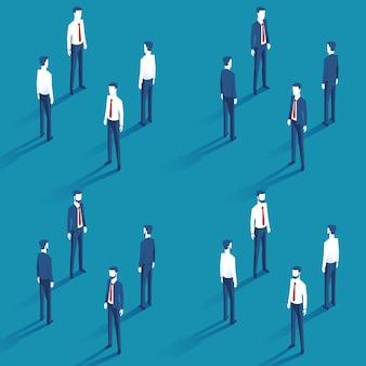 Diferentes empresários de terno e camisa com gravata vermelha em isométrica
